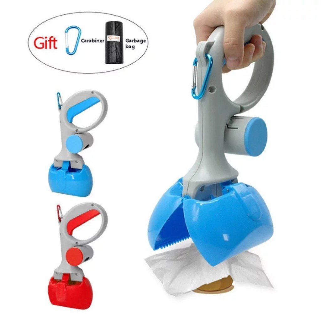bluee Superplus Pets Pooper Scooper Dog Waste Scoop Sanitary Pickup Remover for Outdoor Cleaning Puppy Cat Kitten Free Poop Bags Gift (bluee)