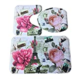 Software : 3pcs/set Bathroom Mats, Non-Slip Novelty Print Modern Pedestal Rug + Lid Toilet Cover + Bath Mat (E)