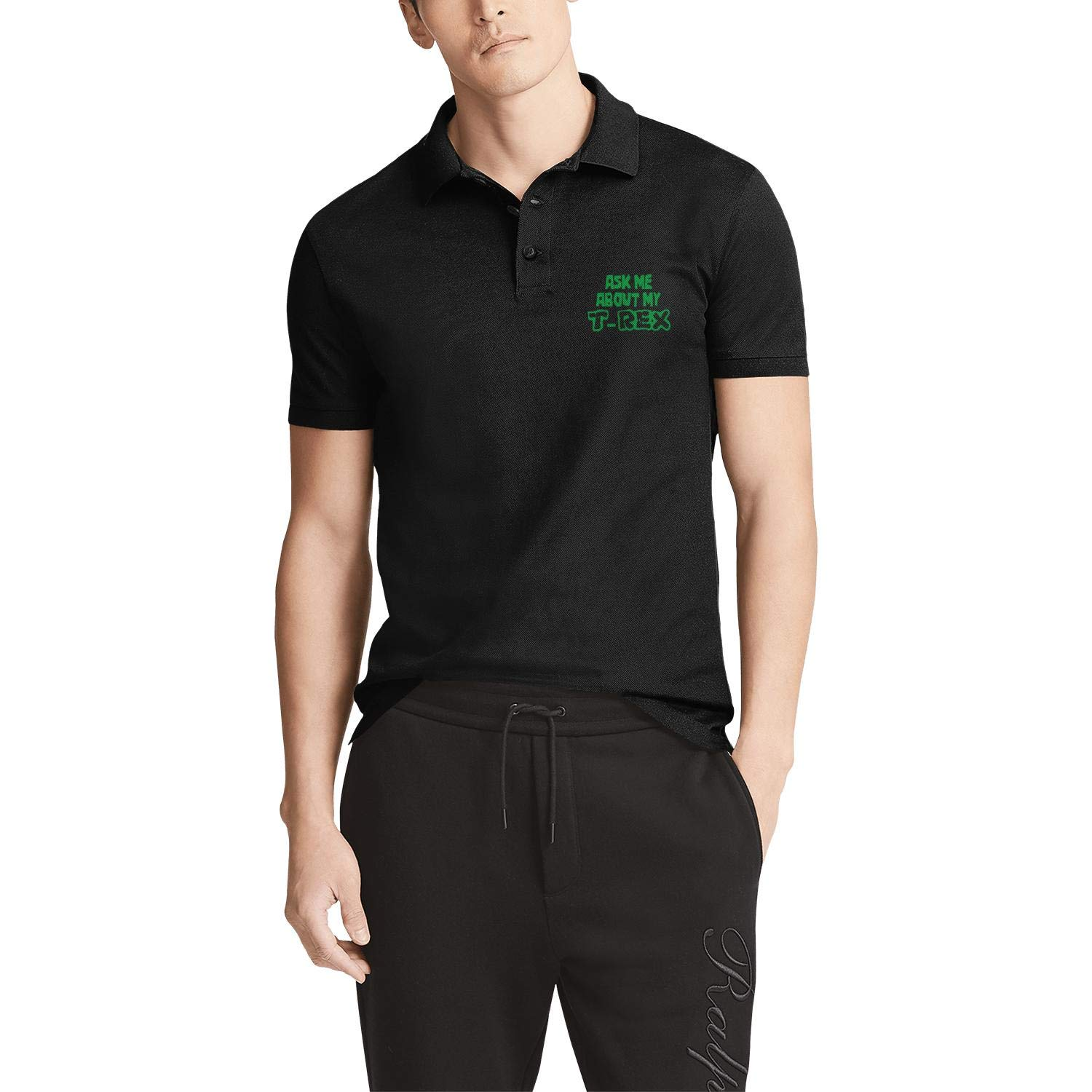 WENL Ask Me About My T-Rex Mens Slim Fit Fashion Polo Shirt