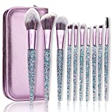 Makeup Brushes with Cosmetic Case ENZO KEN 10 Pcs Synthetic Foundation Powder Concealers Eye Shadows Makeup Brush Sets (purple)
