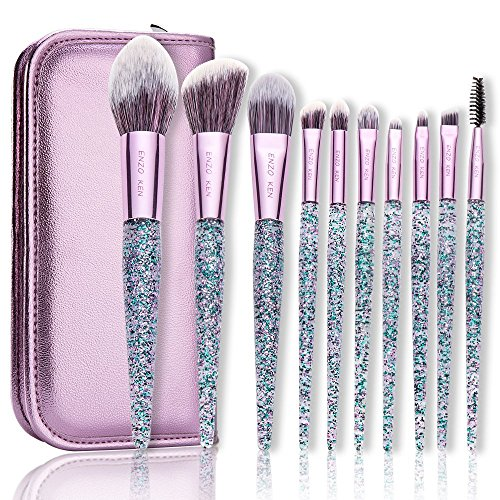 Makeup Brushes with Cosmetic Case ENZO KEN 10 Pcs Synthetic