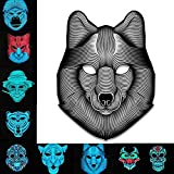 Halloween LED Cold Light Mask,ADSRO Voice Controlled Glowing Music Party Mask Scary Luminous Role Playing size 9.86.7 inch (Wolf)