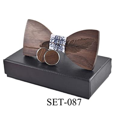 Classic Feather Wood Bow Ties For Mens Wooden Bow Tie Butterfly