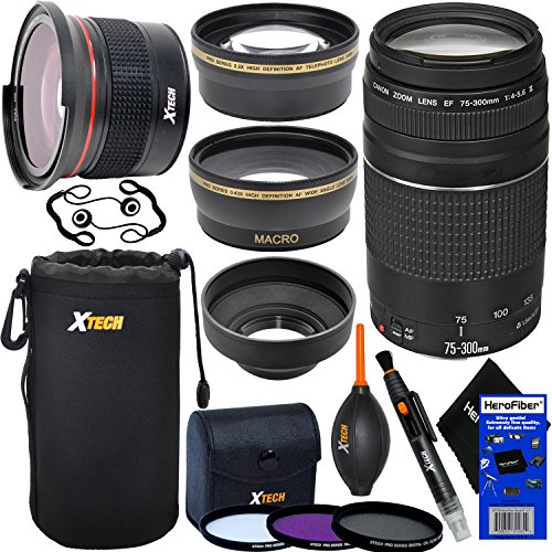 Canon EF 75-300mm f/4-5.6 III Telephoto Zoom Lens for SLR Cameras (International Version) + Fisheye Lens + Telephoto & Wide Angle Lenses + 3pc Filter + 7pc Accessory Kit w/ HeroFiber Cleaning Cloth