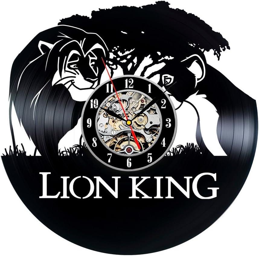 Roi Lion en vinyle Th/ème Horloge murale d/écorative vintage