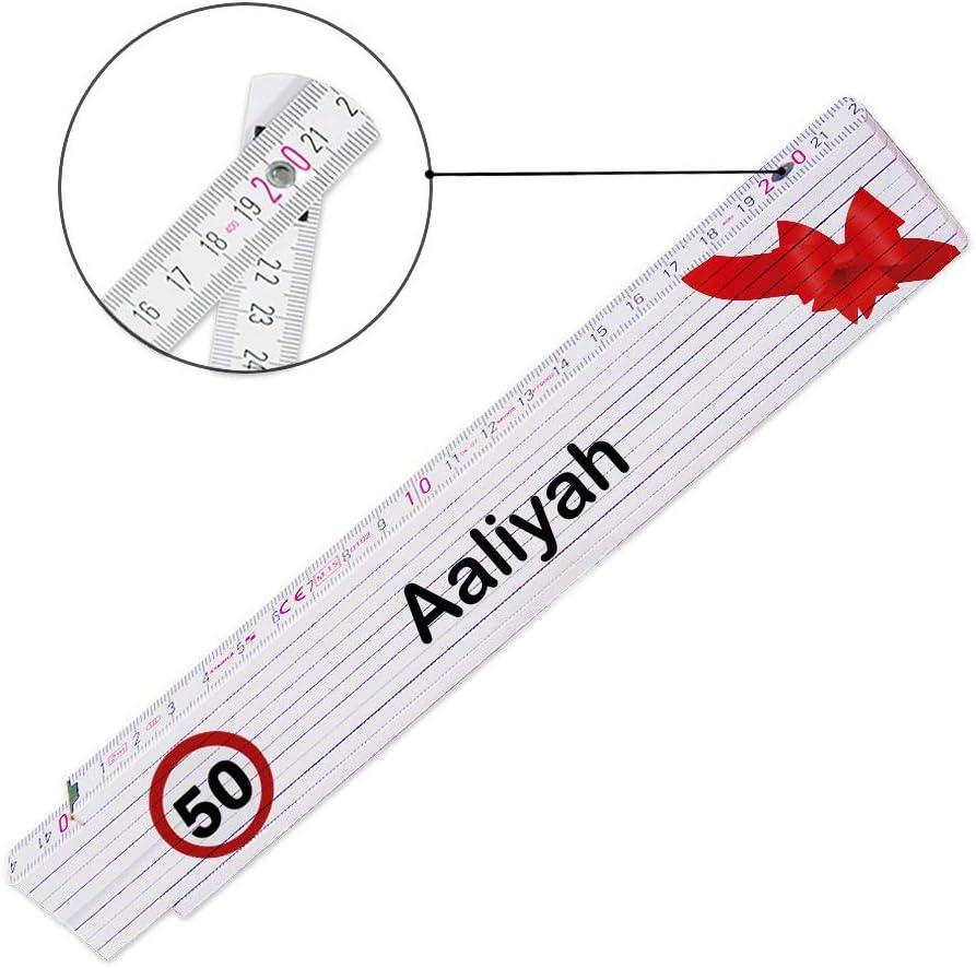 Geburtstag Zollstock mit Namen Aaliyah und Motiv zum 50 Glieder-Ma/ßstab mit Namen bedruckt Viele Namen zur Auswahl