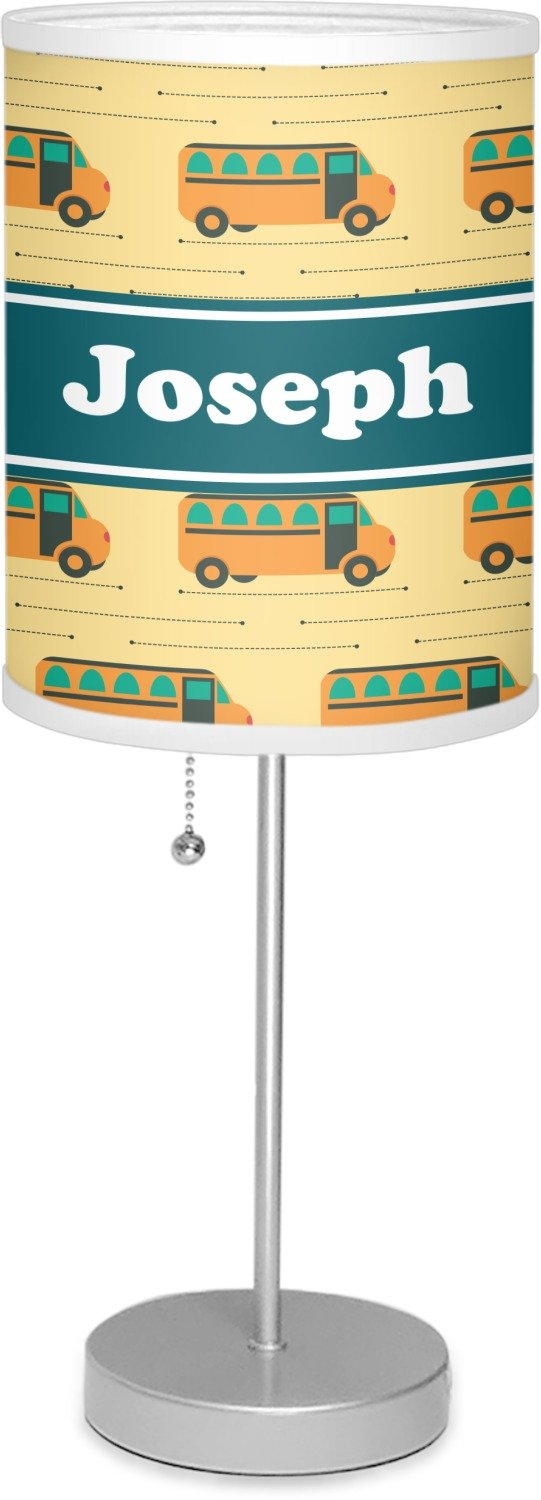 RNK Shops School Bus 7'' Drum Lamp with Shade Linen (Personalized)