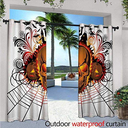 BlountDecor Halloween Outdoor Blackout Curtains Angry Skull Face on Bonfire Spirits of Other World Concept Bats Spider Web Design Outdoor Privacy Porch Curtains W120 x L84 Multicolor
