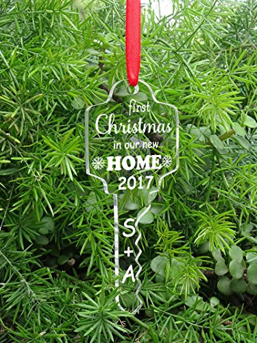 Custom Our First Home Christmas Gift Personalized Key Christmas Tree Ornament Clear Laser Engraved Hanging With Gift Box
