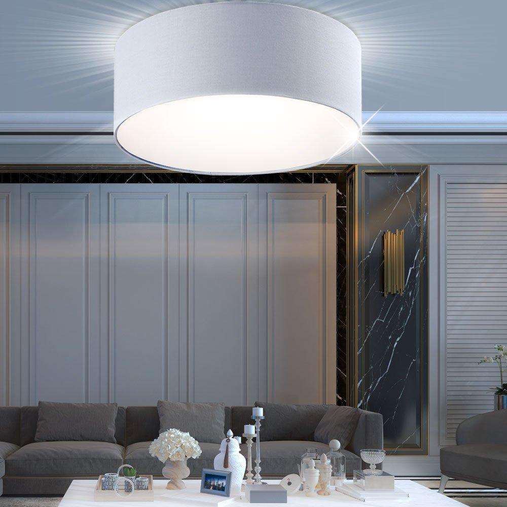 30 W LED Decken Lampe Wohn Zimmer Energiespar Beleuchtung rund Textil Lampe grau