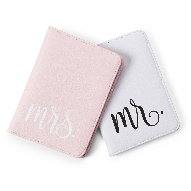 Mirror Mirror Passport Wallets Travel Holder Set: Mr. & Mrs. Slim Waterproof Passport Case Covers & Organizer Slots for ID, Money & Credit Card - White & Pink by Mirror Mirror