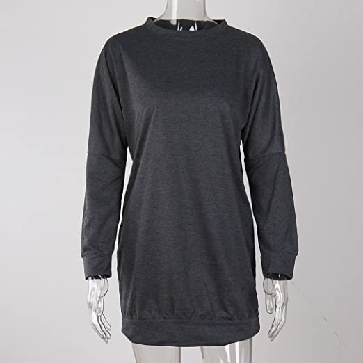 Vestidos ursing Mode Mujer o de recorte vestido manga larga capucha sudadera Otoño Ropa streetwear Long Sudadera larga jersey cuello redondo manga larga ...