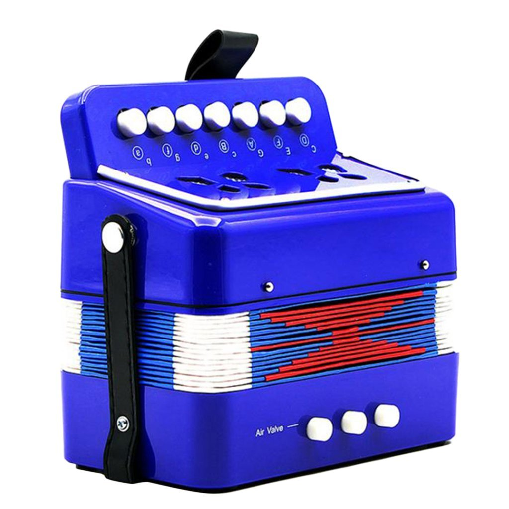 Baoblaze 7 Key Piano Accordion Toy Musical Instrument for Toddlers Kids Early Childhood Teaching