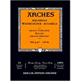 ARCHES 23 x 31 cm 300 gsm Rough Grain Short Side Glued Pad Watercolour Paper - Natural White (Pack of 12 Sheets)