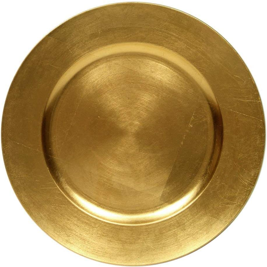 "#1 Beautiful Luxurious Elegant Round Shiny Dinnerware 13"" Charger Plates Wedding Christmas Anniversary Formal Charger Service Dining Entertaining Home Party Decor Holiday (48, Gold)"