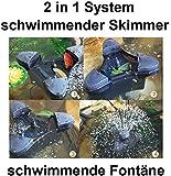 Aquaristikwelt24 CSP-2000 schwimmender Skimmer incl. Teichfontäne bis zu 30m² 2in1 System Teich