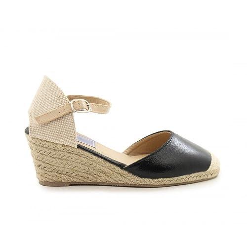 Amazon Cuña De Esparto Negro Zapatos Brillo Benavente Y xqTqCwXvr
