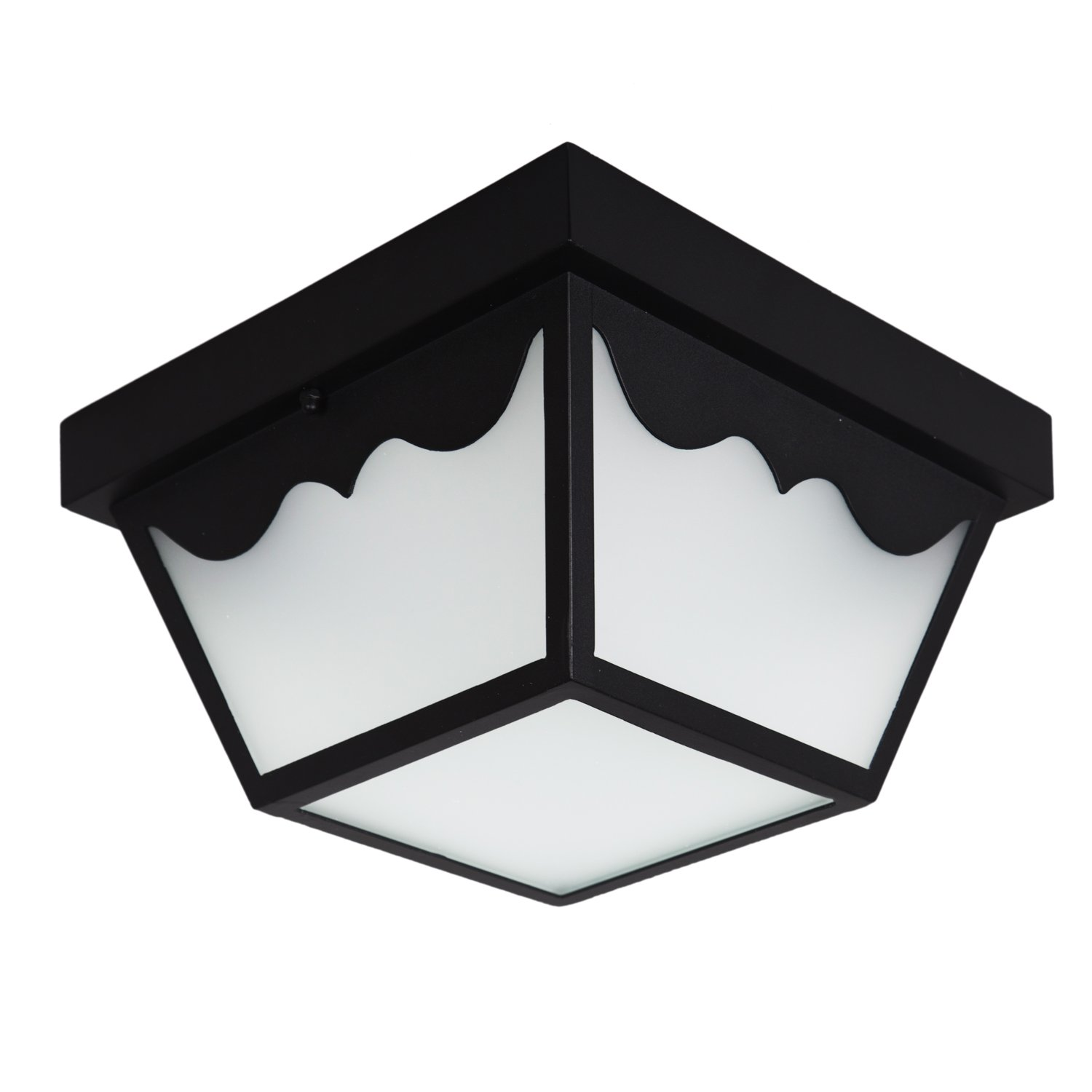Maxxima LED Outdoor Porch Ceiling Light Fixture, Black w/Frosted Glass, 700 Lumens, 4000K Neutral White