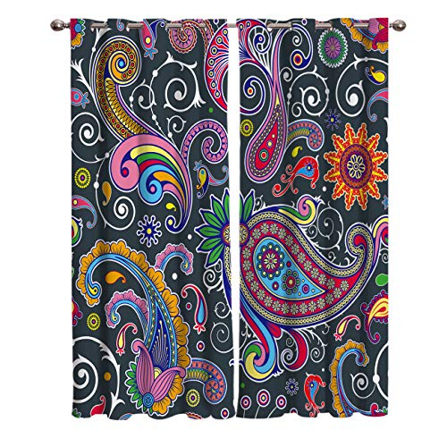 Window Blackout Curtains Drapes Grommet 1 Panel Color Paisley Pattern Wallpaper Print Room Darkening Curtains 52