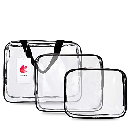 SIMCAST 3 en 1 regalo Maquillaje bolsas y maletas Bolso de plástico bolsa de viaje de PVC transparente cepillos organizador para hombres y mujeres ...