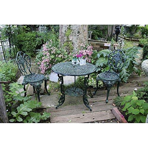 ジャービス商事 アルミ鋳物テーブル3点セット(大) 【ガーデンテーブルセット】 青銅色 B00AE261HA