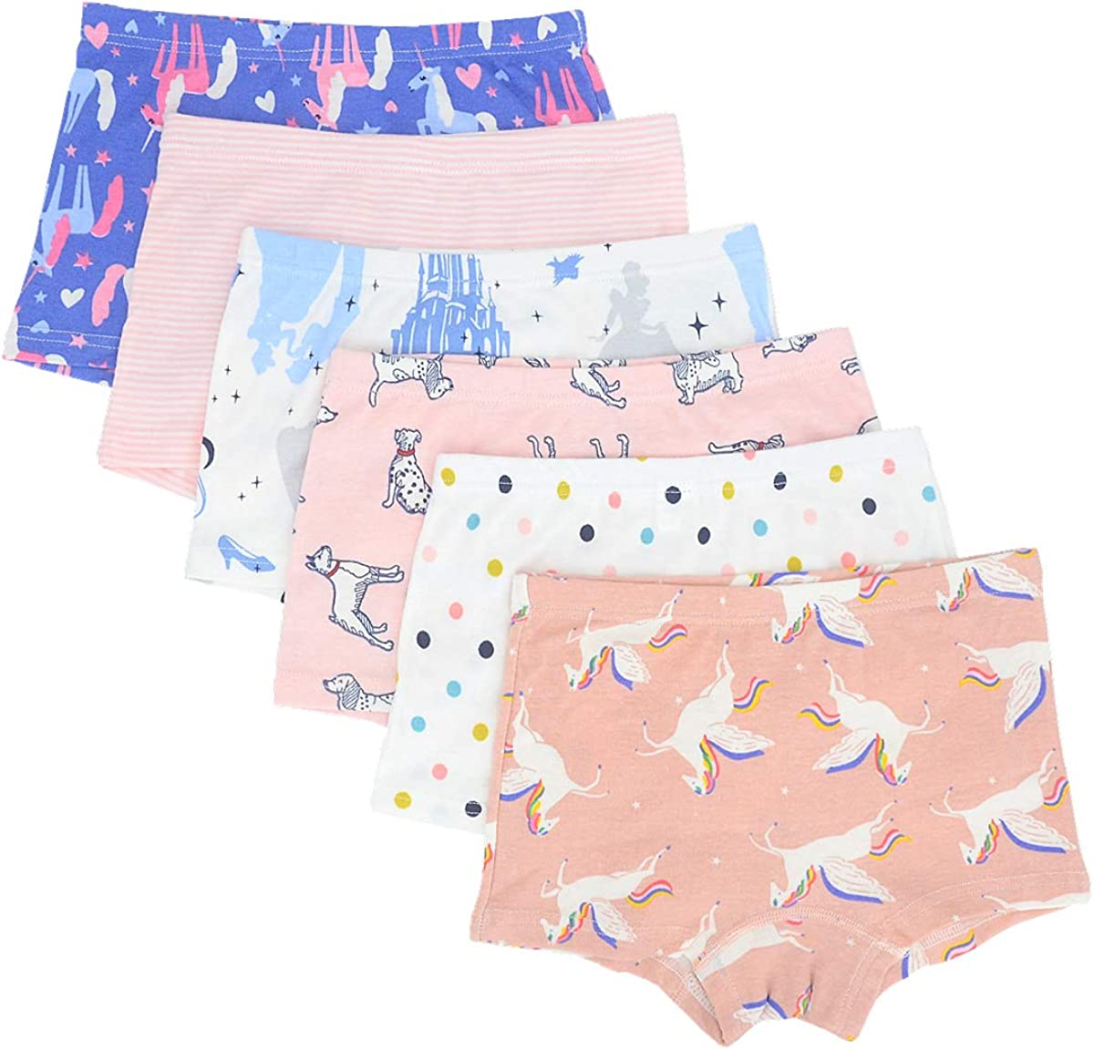 Cczmfeas Kids Girls Soft Cotton Underwear Assorted Boyshort Pack of 5