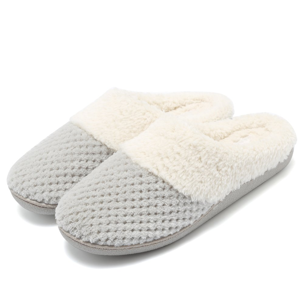 Fanture Women's Comfort Coral Fleece Memory Foam Slippers Plush Lining Slip-on Clog House Shoes Indoor & Outdoor-U418WMT004-light gray-F-40-41