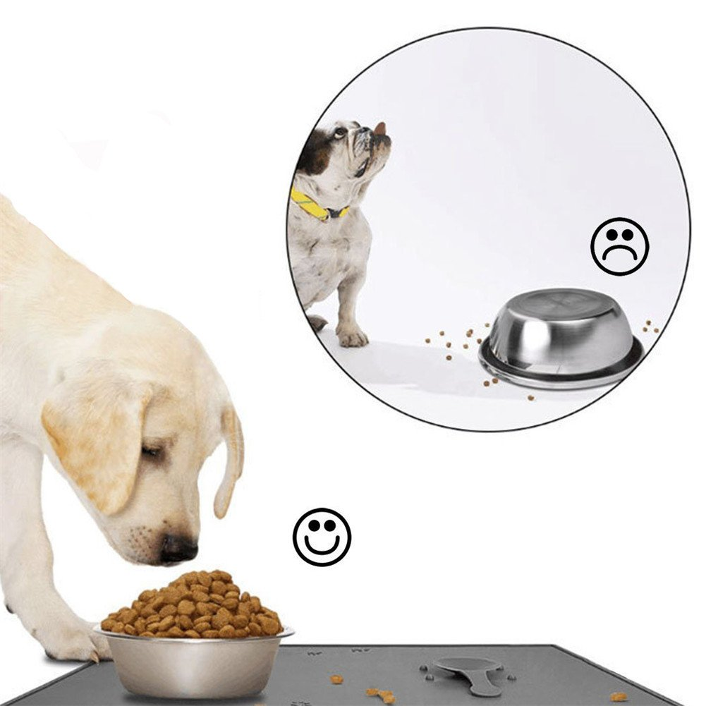 H&Zt Dog Food Mat, Silicone Pet Feeding Mats, Non Slip Waterproof Cat Bowl Trays Food Container Placemat for Small Animals (Grey) by H&Zt (Image #7)