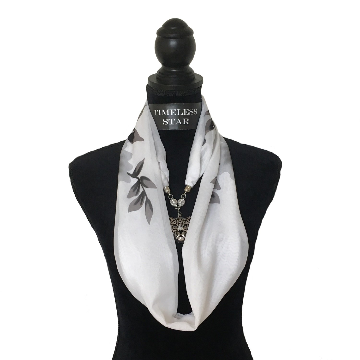 TIMELESS STAR Women's Fashion Printed Color Neckwear Magnetic Pendant Scarf (Regal Lily)