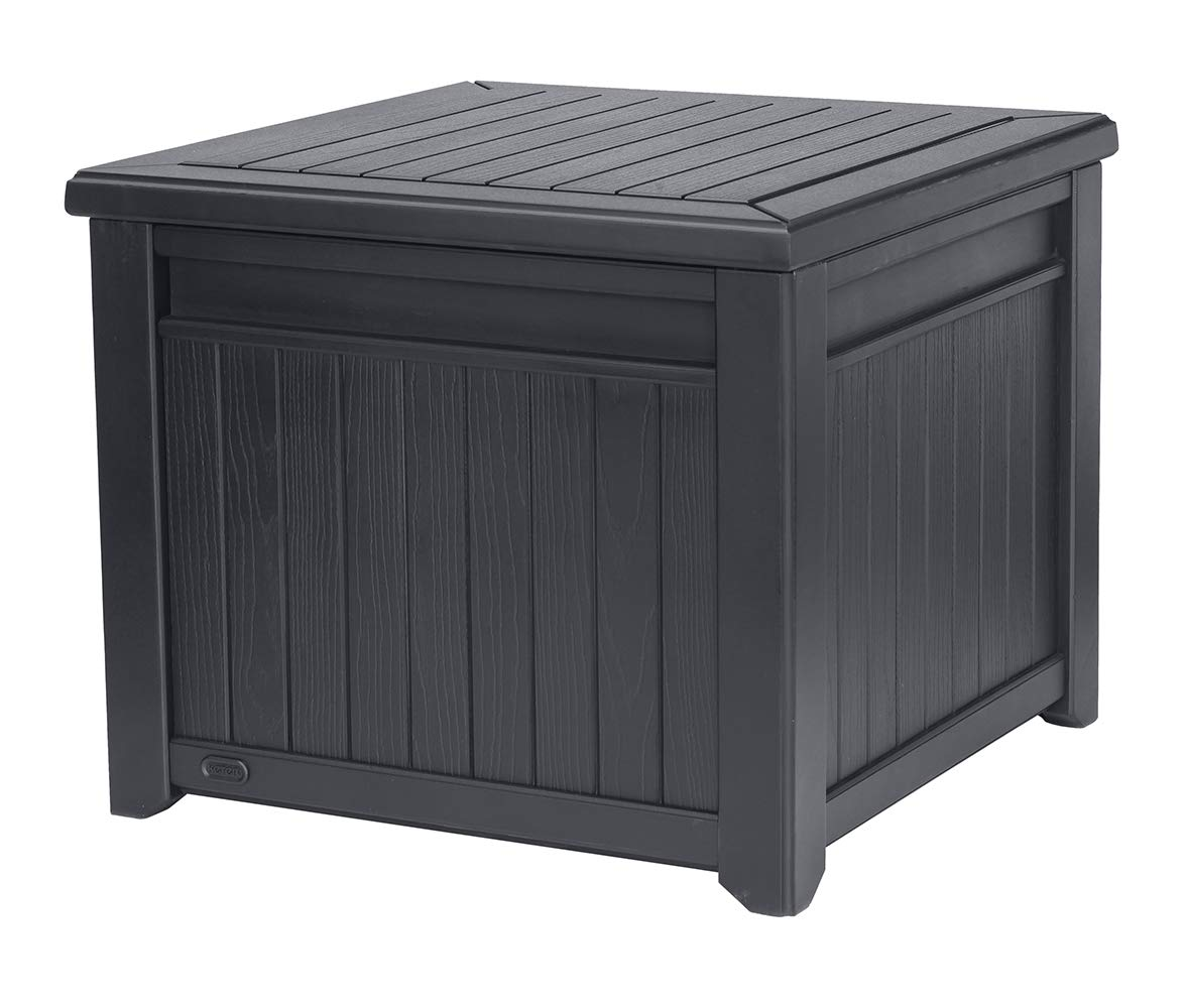 Keter 55 Gallon Resin Outdoor Box Table in One with Patio Furniture Cushion Storage, Grey by Keter