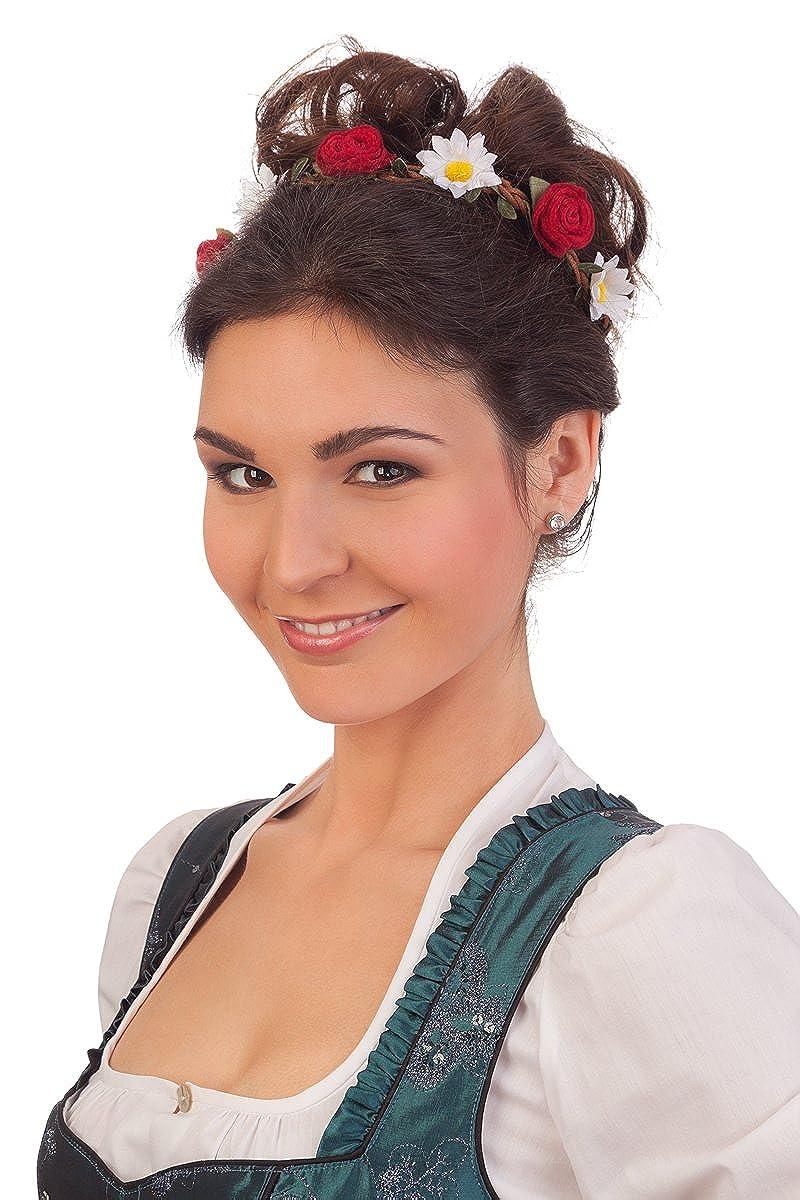 Trachten Damen Haarband - FILZROSEN/MAGERITEN - rosa, rot