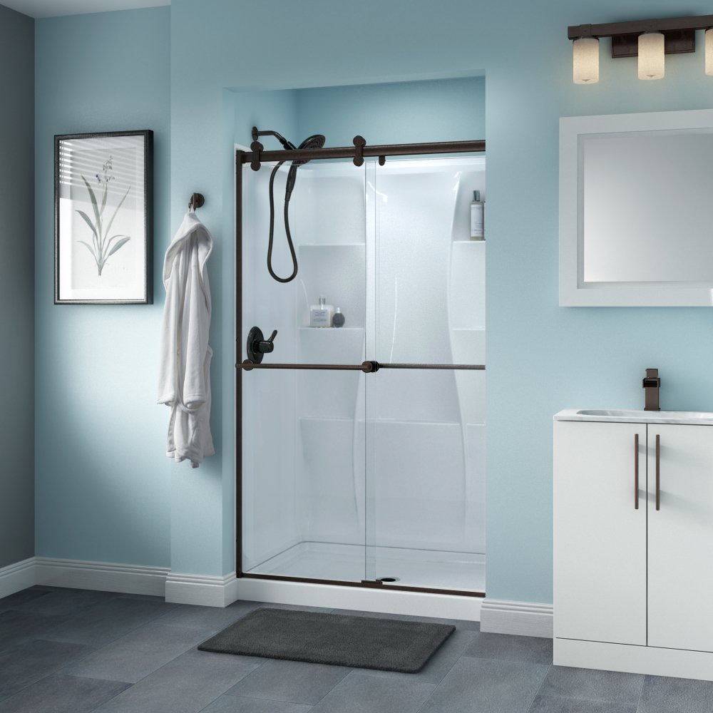 Delta Shower Doors SD3276519 Trinsic 48'' x 71'' Semi-Frameless Contemporary Sliding Shower Door in Bronze with Clear Glass