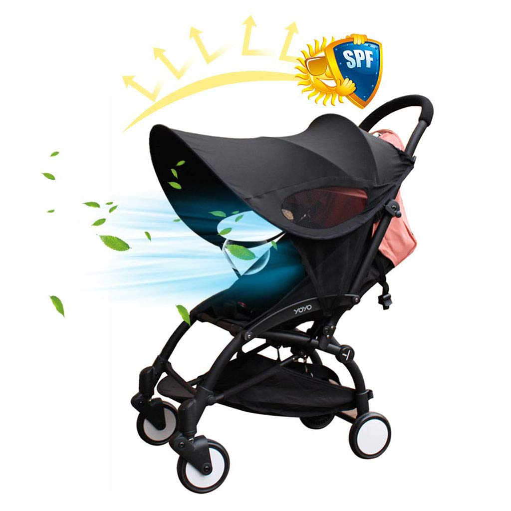 ZLMI Baby Stroller Widen Sun Shade Awning UPF50+ Anti-UV Umbrella Canopy Universal Fit for Stroller Carriage Seat bb car
