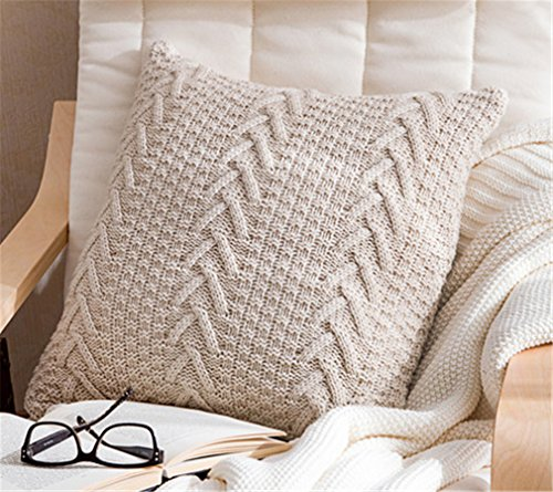 Decorative Cotton Knitted Pillow Case Cushion Cover Double-Cable Warm Throw Pillow Covers for Bed Couch 18