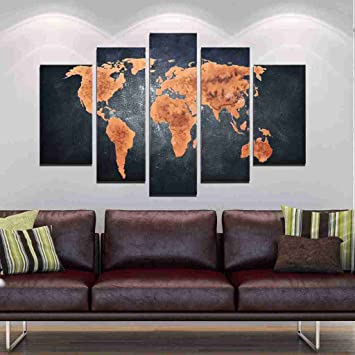 Artland hand painted framed wall art classic world map 5 piece artland hand painted framed wall art classic world map 5 piece gallery gumiabroncs Image collections