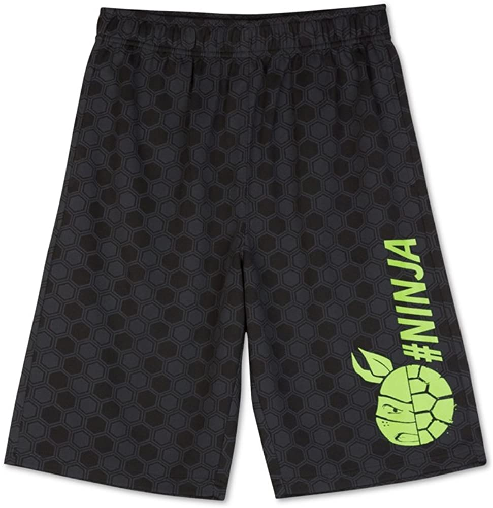 Hybrid Nickelodeon Boys TMNT Turtle Power Athletic Workout Shorts Black XL Big Kids 8-20