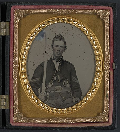 Historic Photos 1861 Photo Unidentified soldier in Union sergeant uniform with 1st model Colt Dragoon and Colt Army revolvers and sword