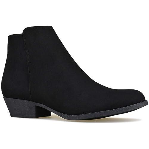 7fff9cf7ec2 Premier Standard - Women's Side Zipper Closed Toe Booties - Low Heel Casual  Comfortable Walking Booties