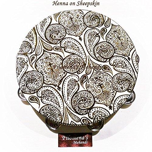 Henna Tambourine Inspired by Prince Paisley Tambourine Painted With Natural Henna by Filomena's Mehendi