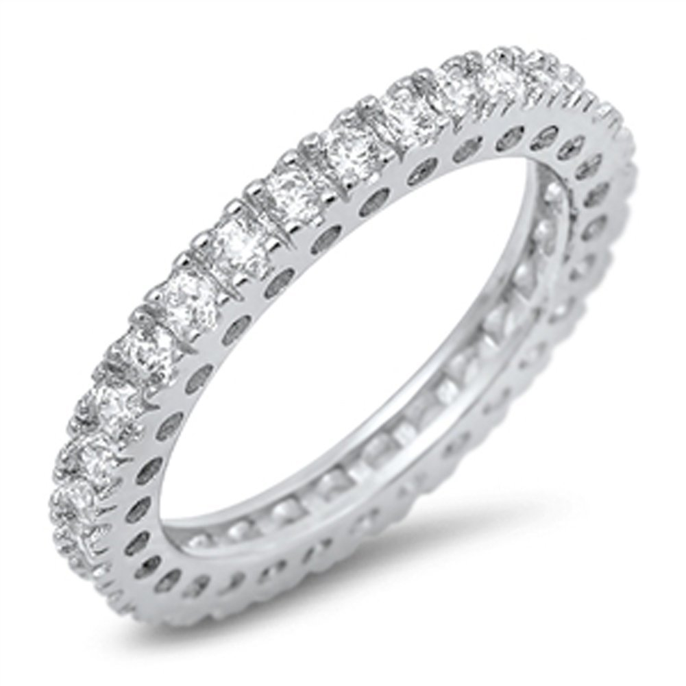Eternity Stackable Clear CZ Beautiful Ring .925 Sterling Silver Band Size 7