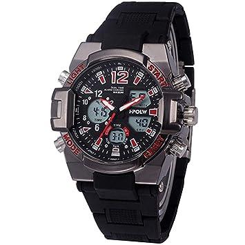 WULIFANG Los Deportes Masculinos Reloj Digital Reloj Exterior De Moda Nuevos Hombres De La Pantalla Led Reloj Militar Rojo: Amazon.es: Deportes y aire libre