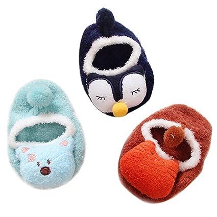 Happy Cherry - 3 Pares de Recién Nacido Calcetines Antideslizantes Primer Paso para Primavera Otoño Zapatillas