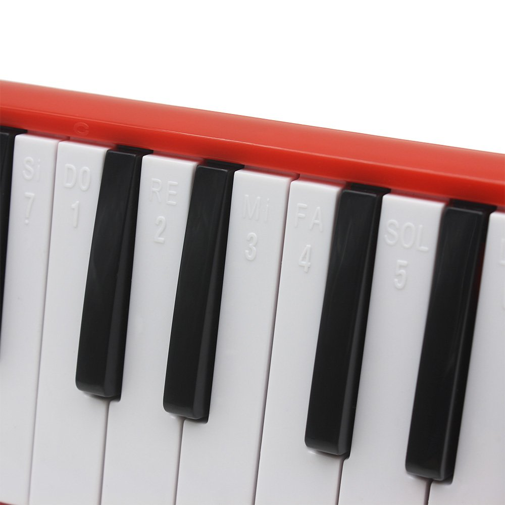 Kuyal 32 Key Melodica, Piano Style Melodica Keyboard, Musical Education Instrument For Music Lovers Beginners And Children With Mouthpiece & Hose & Bag (Red) by Kuyal (Image #3)