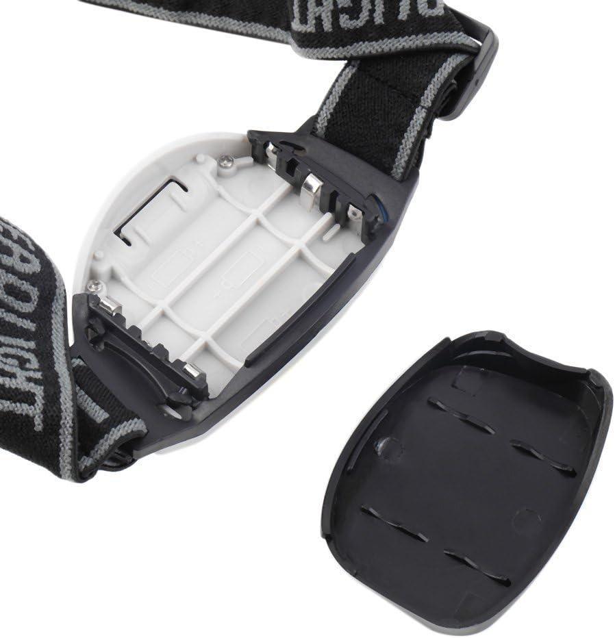 Blanco y negro Mini LED Head Lamp 3-Mode linterna antorcha de luz para caminar ciclismo de pesca