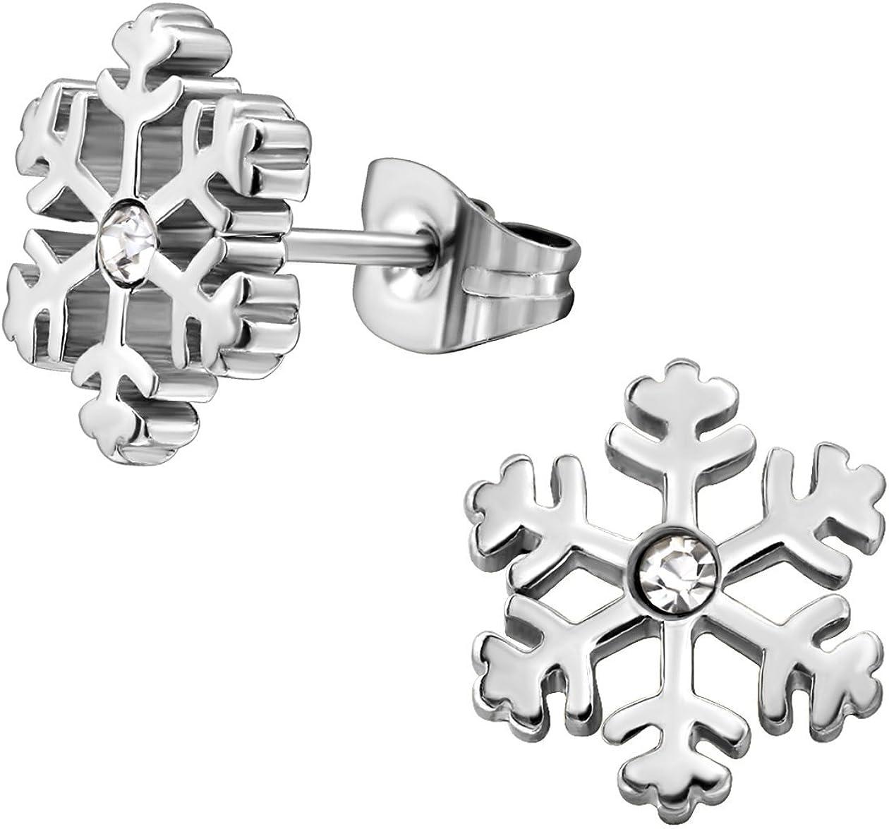 Pendientes de copo de nieve de acero inoxidable con piedras de cristal.