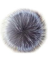 Valpeak 5'' Fur Ball Keychain Fox Fur Pom Pom Keychain Fluffy Fur Keychain Balls (Silver)
