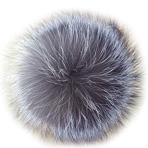 Pom Pom Fur Real (Valpeak 5'' Fur Ball Keychain Fox Fur Pom Pom Keychain Fluffy Fur Keychain Balls (Silver))