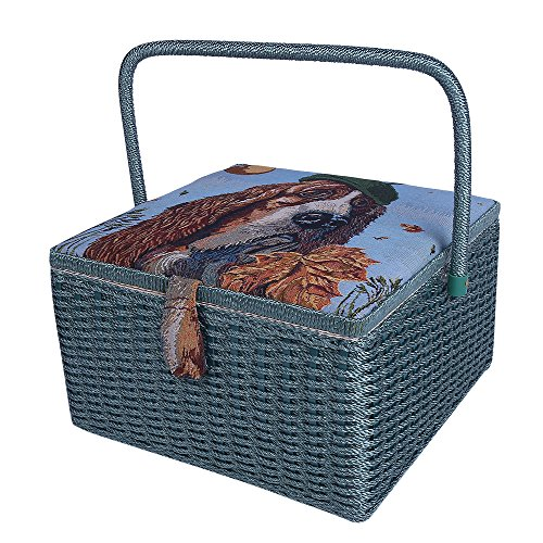 SAXTX Crafts Sewing Storage Box Containers Extra Large Double Layer with Tray,Handmade Embroidery Sewing Basket with Multiple Compartments| Best Gift Boxes for Mother,13.4''x 13.4''x 8'' by SAXTX