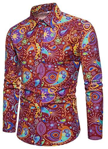 EMAOR Men's All Over Print Floral Shirt Button Down Long Sleeve Tops, 12#color, US Small = Tag XL