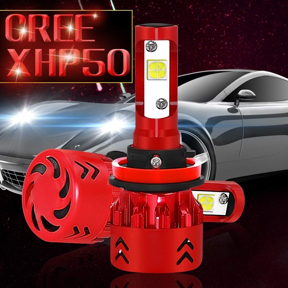 H11 2 Pack H8, H9 IP68 Waterproof Fog Light 80W 9600LM 6000K Cool White CREE-XHP50 All-in-One Conversion Kit GALYGG LED Headlight Bulb